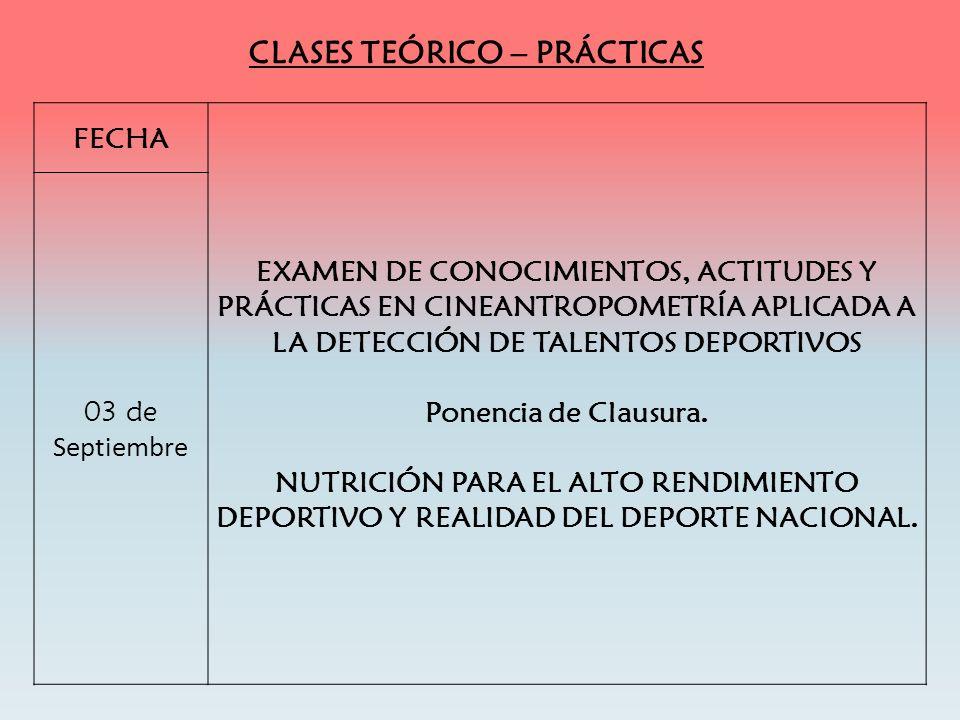 CLASES TEÓRICO – PRÁCTICAS