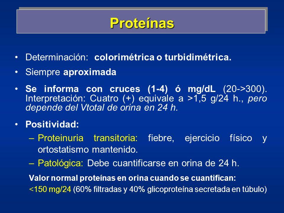 Proteínas Determinación: colorimétrica o turbidimétrica.