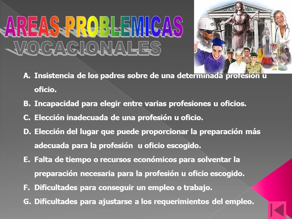 AREAS PROBLEMICAS VOCACIONALES