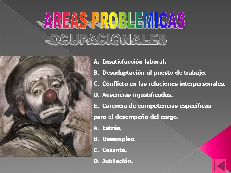AREAS PROBLEMICAS OCUPACIONALES Insatisfacción laboral.