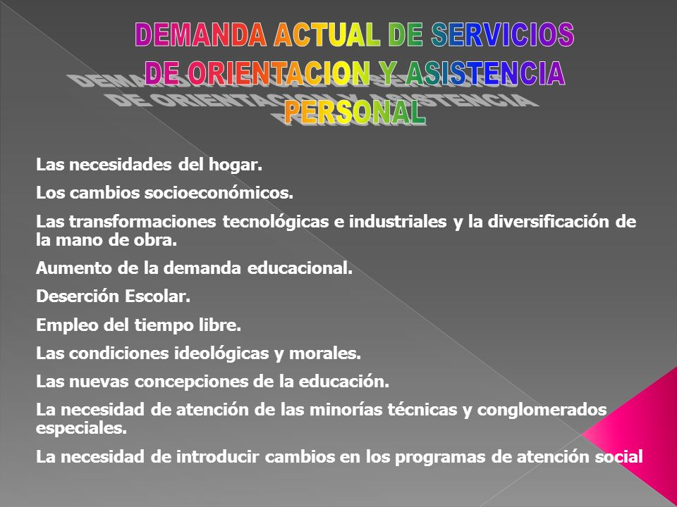 DEMANDA ACTUAL DE SERVICIOS DE ORIENTACION Y ASISTENCIA PERSONAL