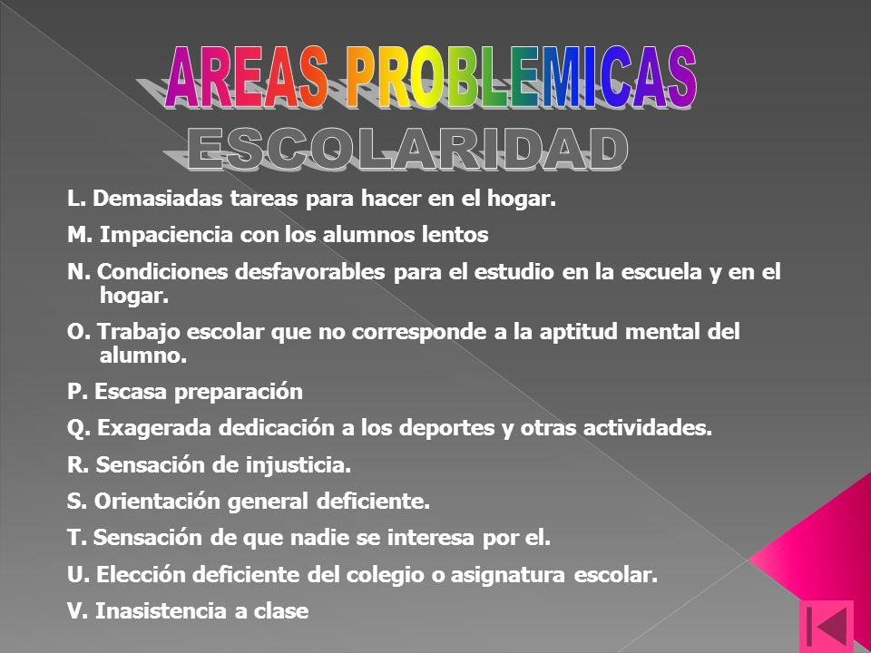 AREAS PROBLEMICAS ESCOLARIDAD