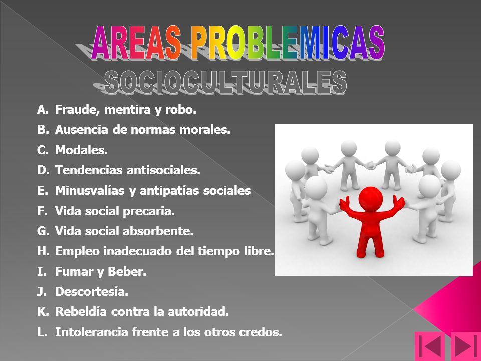 AREAS PROBLEMICAS SOCIOCULTURALES Fraude, mentira y robo.
