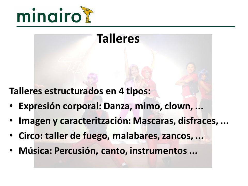 Talleres Talleres estructurados en 4 tipos:
