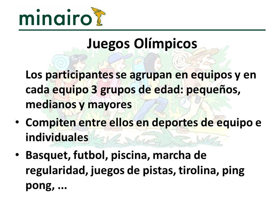 Juegos Olímpicos Los participantes se agrupan en equipos y en cada equipo 3 grupos de edad: pequeños, medianos y mayores.