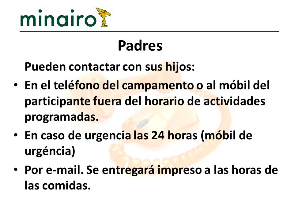 Padres Pueden contactar con sus hijos: