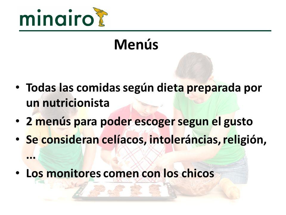 Menús Todas las comidas según dieta preparada por un nutricionista