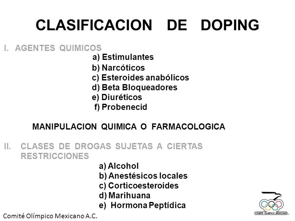CLASIFICACION DE DOPING MANIPULACION QUIMICA O FARMACOLOGICA