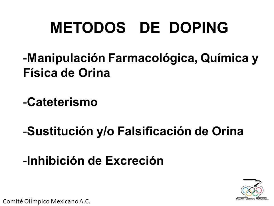 METODOS DE DOPING Manipulación Farmacológica, Química y Física de Orina. Cateterismo. Sustitución y/o Falsificación de Orina.