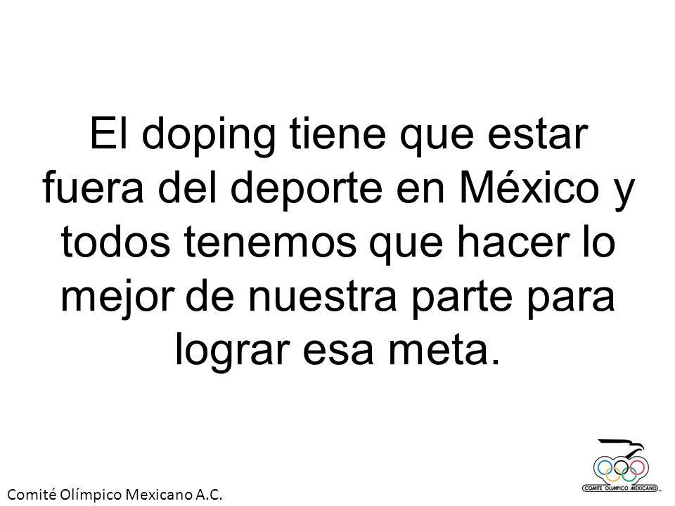 El doping tiene que estar fuera del deporte en México y todos tenemos que hacer lo mejor de nuestra parte para lograr esa meta.