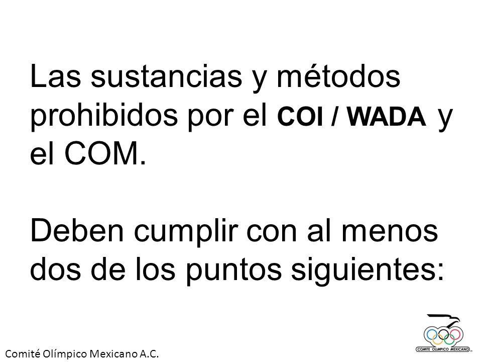 Las sustancias y métodos prohibidos por el COI / WADA y el COM.