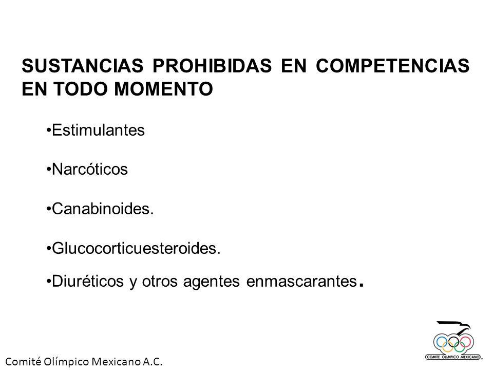 SUSTANCIAS PROHIBIDAS EN COMPETENCIAS EN TODO MOMENTO