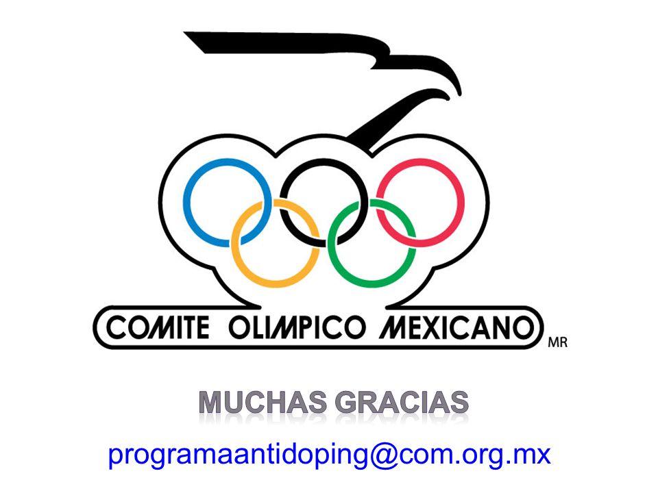MUCHAS GRACIAS programaantidoping@com.org.mx