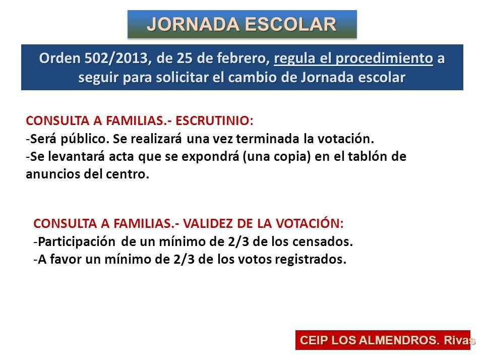 JORNADA ESCOLAR Orden 502/2013, de 25 de febrero, regula el procedimiento a seguir para solicitar el cambio de Jornada escolar.