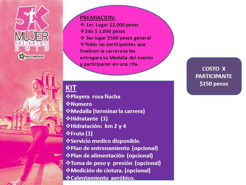 COSTO X PARTICIPANTE $150 pesos