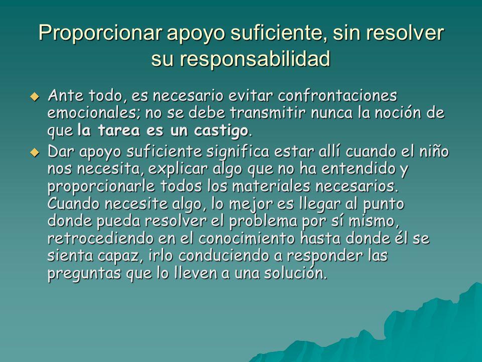 Proporcionar apoyo suficiente, sin resolver su responsabilidad