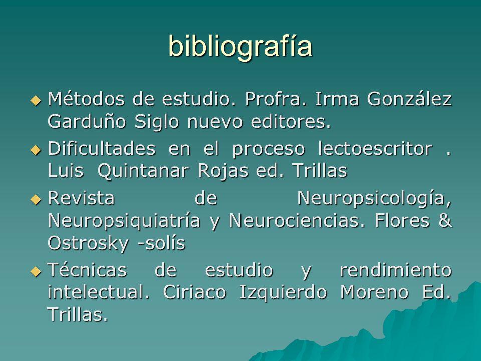 bibliografía Métodos de estudio. Profra. Irma González Garduño Siglo nuevo editores.