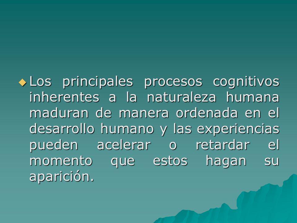Los principales procesos cognitivos inherentes a la naturaleza humana maduran de manera ordenada en el desarrollo humano y las experiencias pueden acelerar o retardar el momento que estos hagan su aparición.