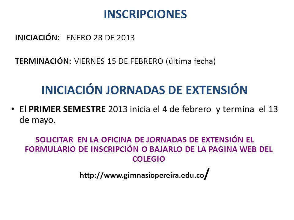 INICIACIÓN JORNADAS DE EXTENSIÓN