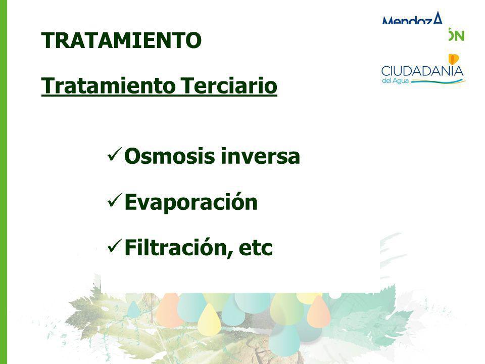 TRATAMIENTO Tratamiento Terciario Osmosis inversa Evaporación Filtración, etc