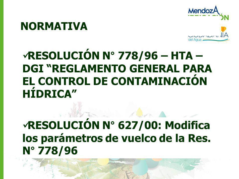 NORMATIVA RESOLUCIÓN N° 778/96 – HTA – DGI REGLAMENTO GENERAL PARA EL CONTROL DE CONTAMINACIÓN HÍDRICA