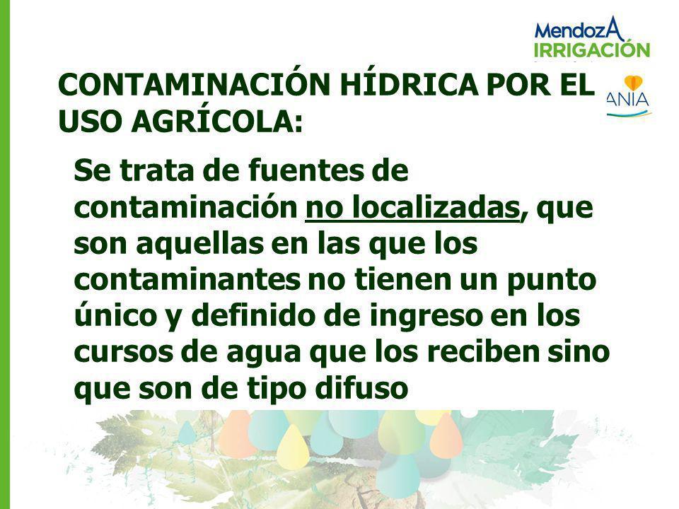 CONTAMINACIÓN HÍDRICA POR EL USO AGRÍCOLA: