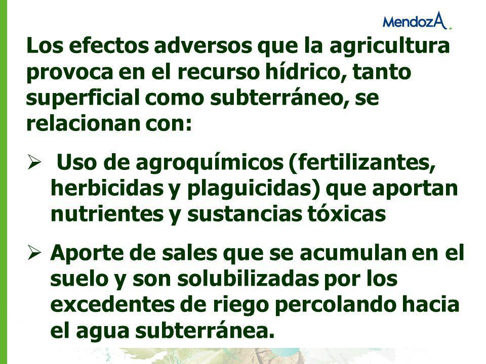 Los efectos adversos que la agricultura provoca en el recurso hídrico, tanto superficial como subterráneo, se relacionan con: