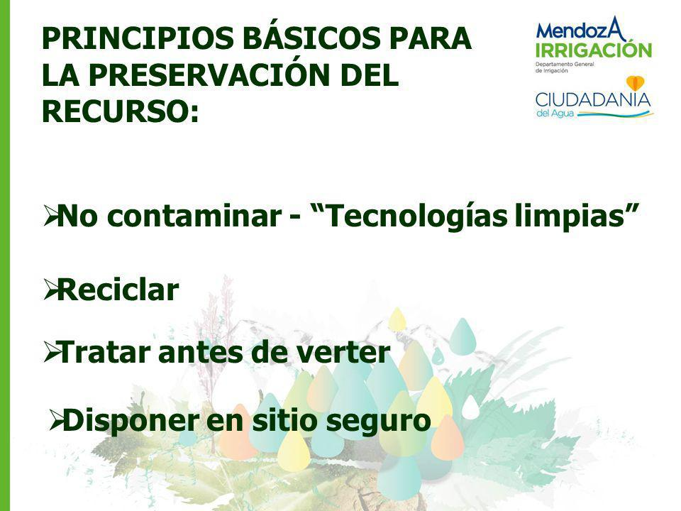 PRINCIPIOS BÁSICOS PARA LA PRESERVACIÓN DEL RECURSO: