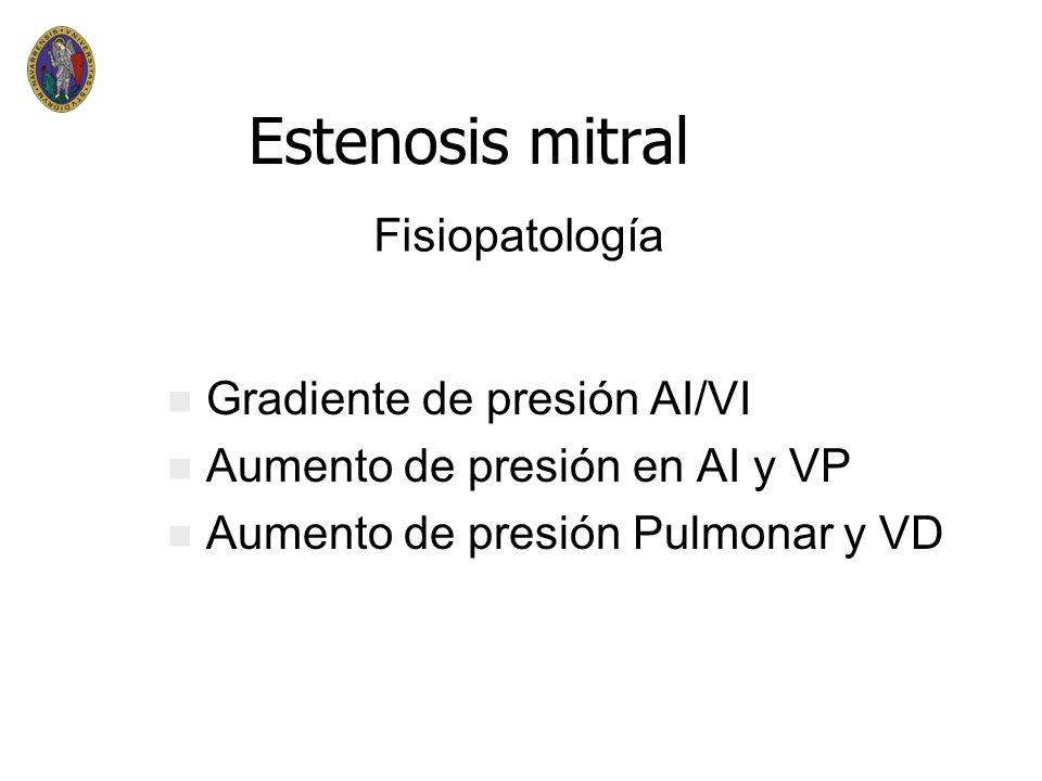 Estenosis mitral Fisiopatología Gradiente de presión AI/VI