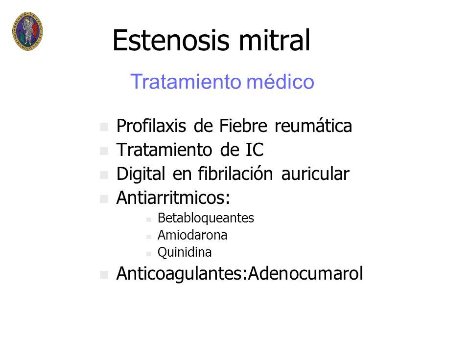 Estenosis mitral Tratamiento médico Profilaxis de Fiebre reumática
