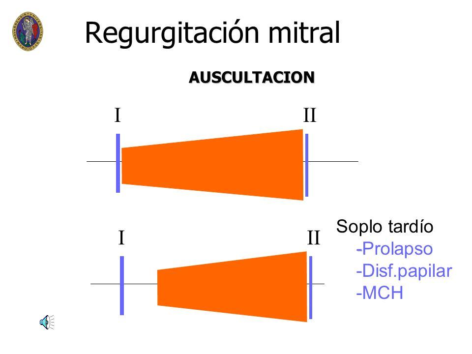 Regurgitación mitral I II I II Soplo tardío -Prolapso -Disf.papilar