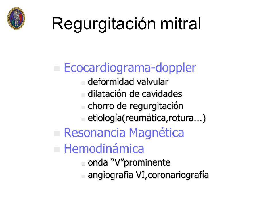 Regurgitación mitral Ecocardiograma-doppler Resonancia Magnética