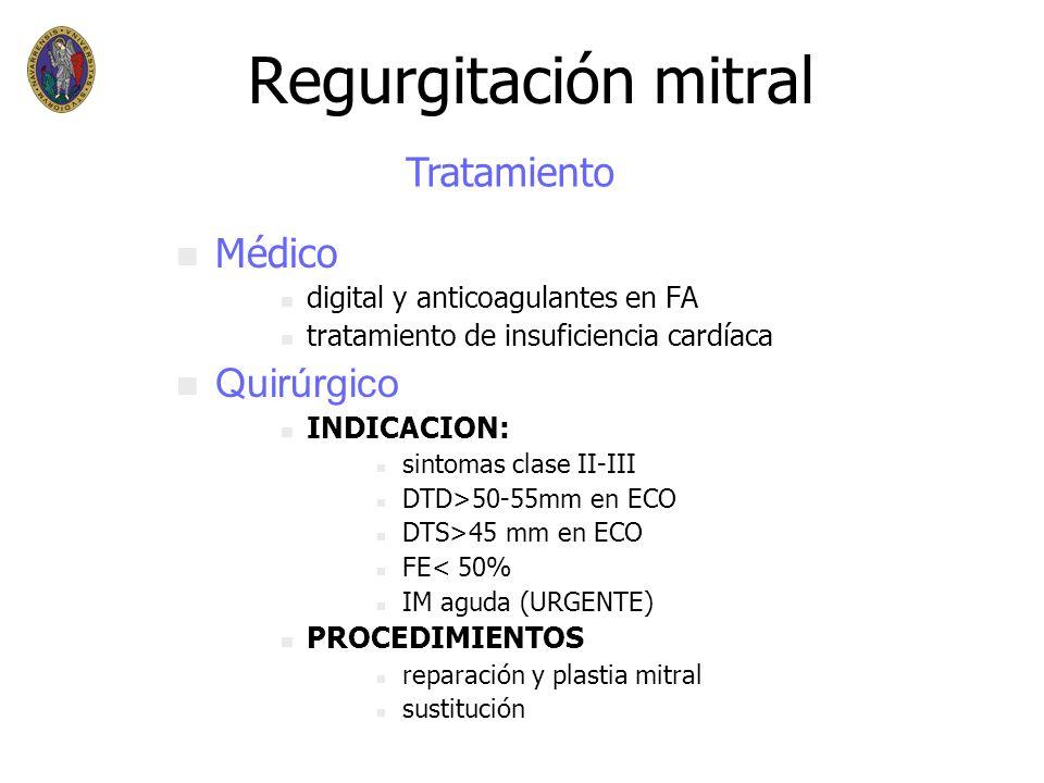 Regurgitación mitral Tratamiento Médico Quirúrgico
