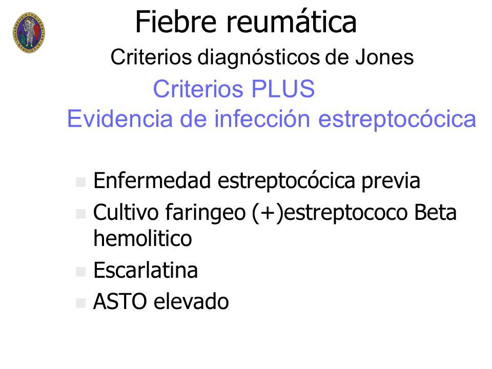 Fiebre reumática Criterios PLUS Evidencia de infección estreptocócica