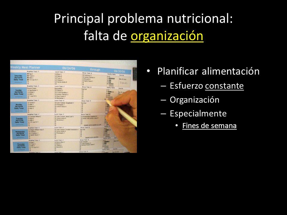 Principal problema nutricional: falta de organización