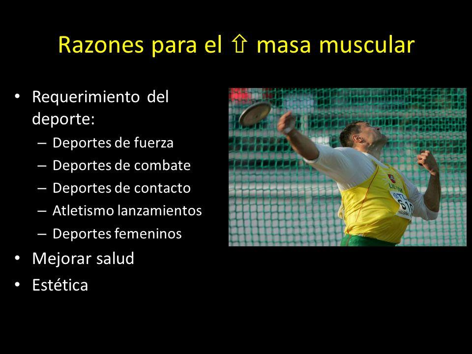 Razones para el  masa muscular