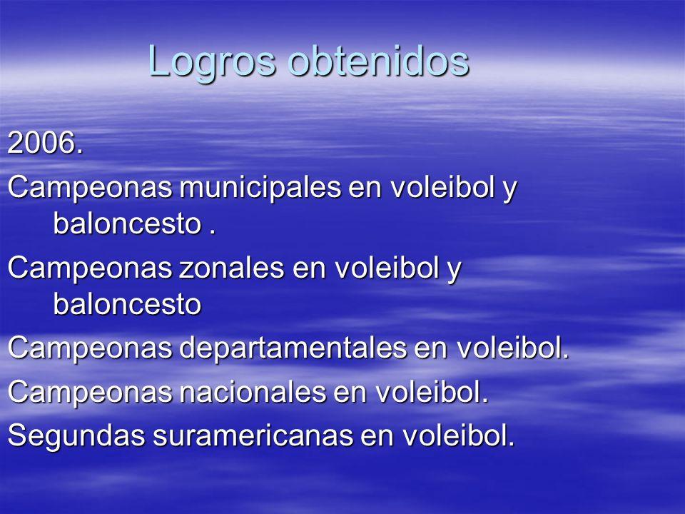 Logros obtenidos 2006. Campeonas municipales en voleibol y baloncesto . Campeonas zonales en voleibol y baloncesto.