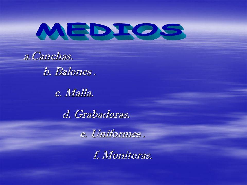 MEDIOS a.Canchas. b. Balones . c. Malla. d. Grabadoras. e. Uniformes .