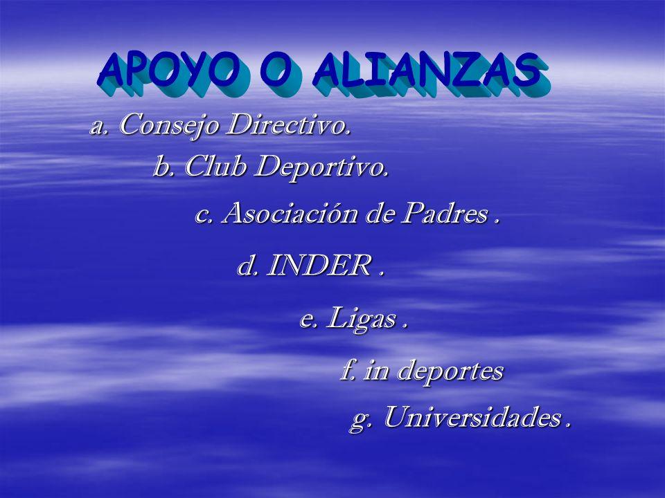 APOYO O ALIANZAS a. Consejo Directivo. b. Club Deportivo.