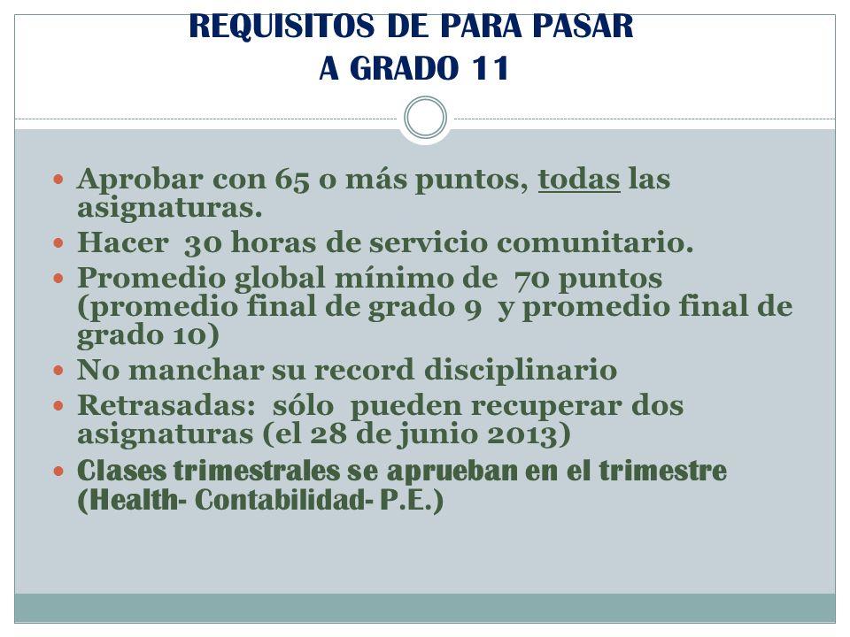 REQUISITOS DE PARA PASAR A GRADO 11