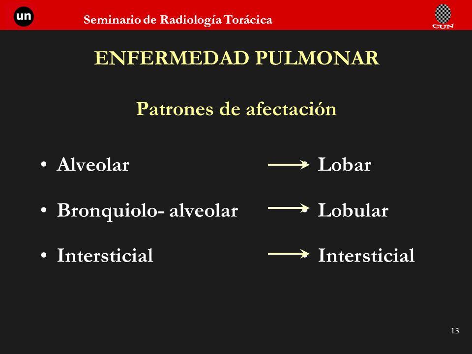 ENFERMEDAD PULMONAR Patrones de afectación