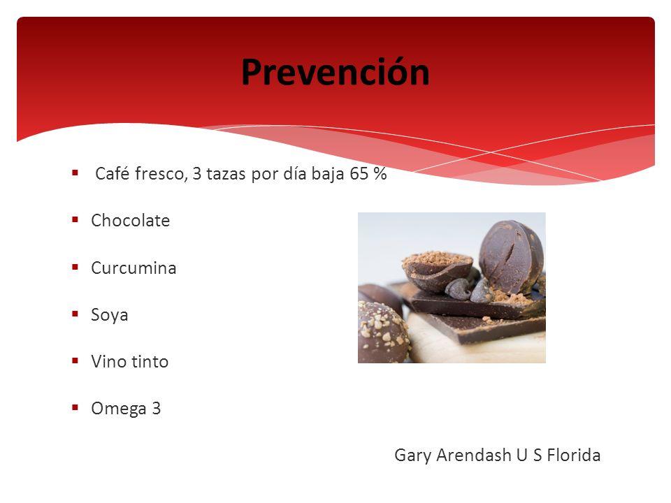 Prevención Café fresco, 3 tazas por día baja 65 % Chocolate Curcumina