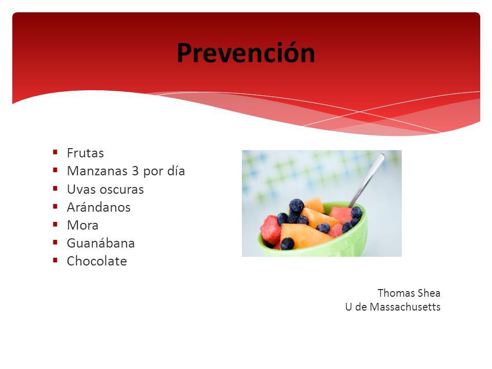 Prevención Frutas Manzanas 3 por día Uvas oscuras Arándanos Mora