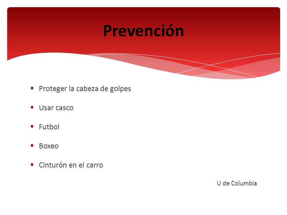 Prevención Proteger la cabeza de golpes Usar casco Futbol Boxeo