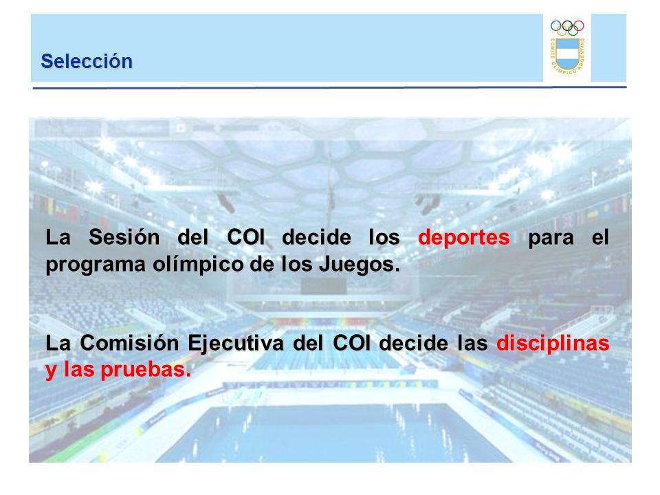 La Comisión Ejecutiva del COI decide las disciplinas y las pruebas.