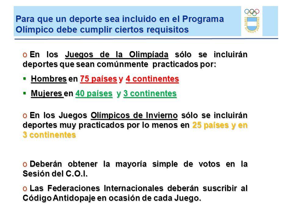 Para que un deporte sea incluido en el Programa Olímpico debe cumplir ciertos requisitos