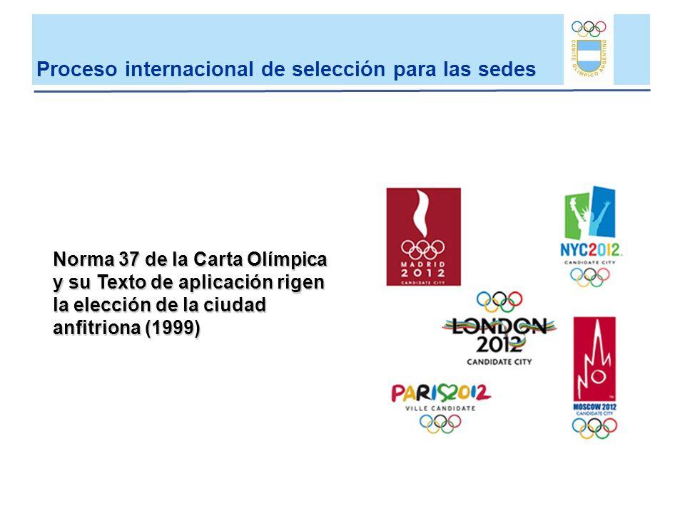 Proceso internacional de selección para las sedes