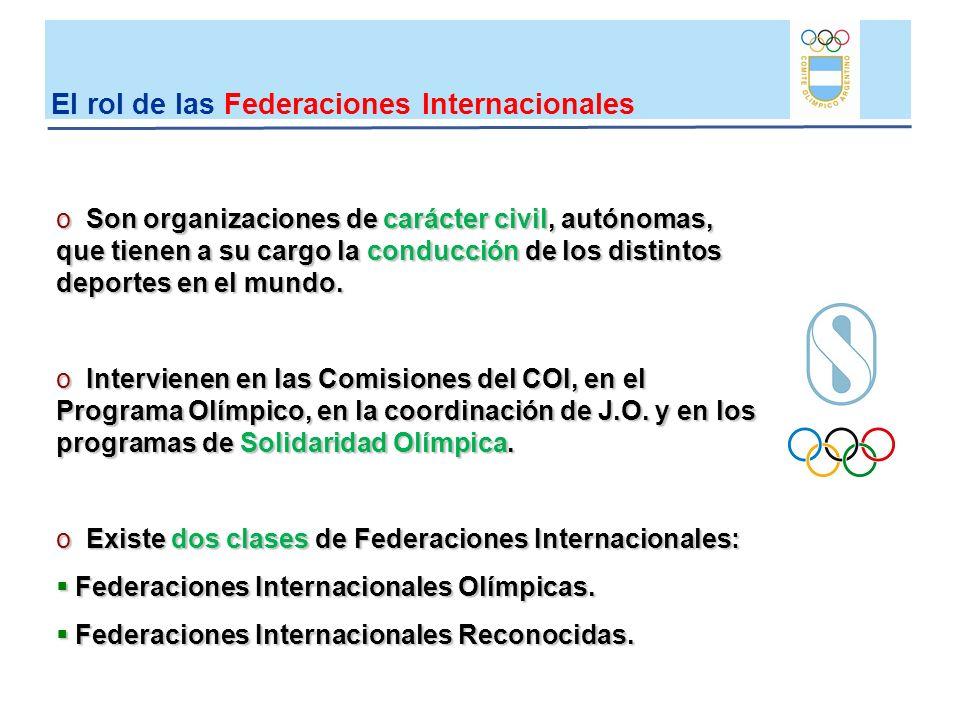 El rol de las Federaciones Internacionales