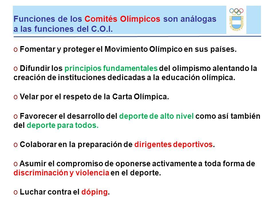 Funciones de los Comités Olímpicos son análogas a las funciones del C