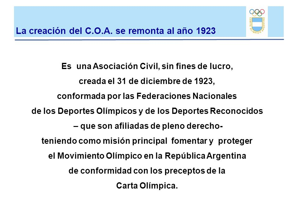 La creación del C.O.A. se remonta al año 1923